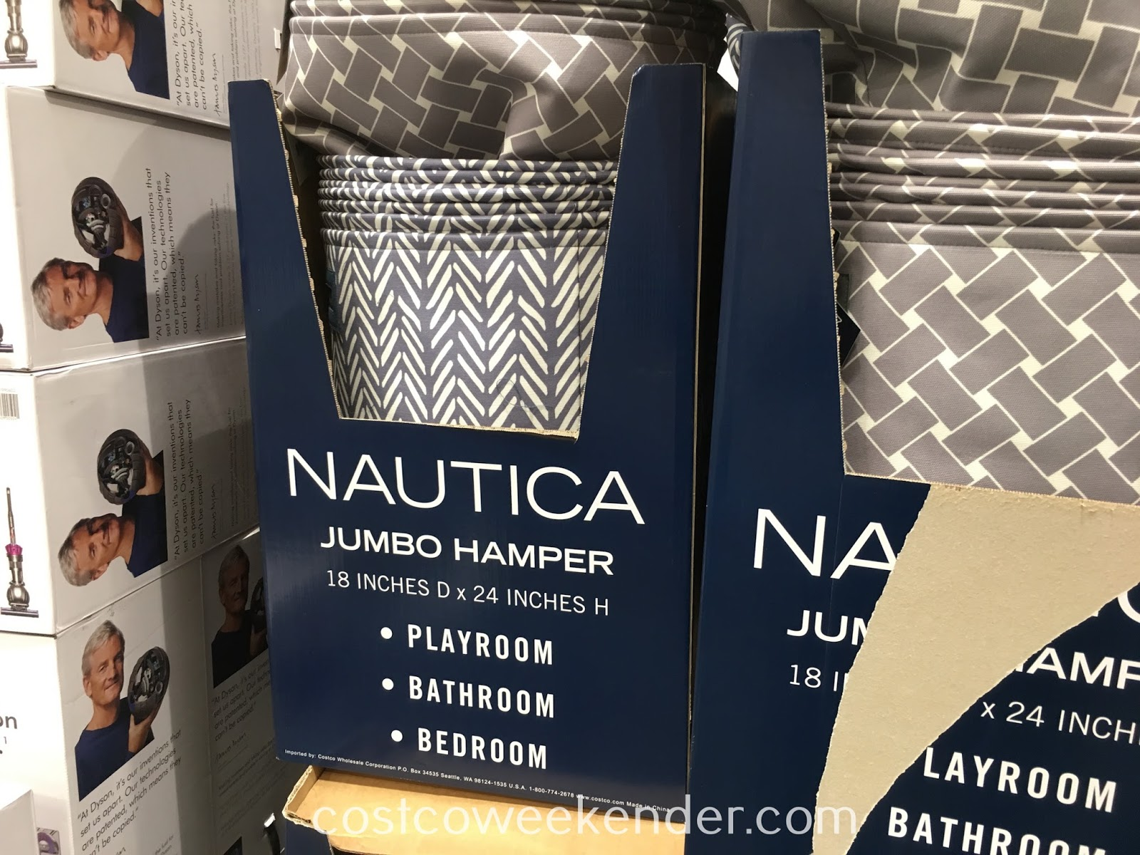 Costco 1096480 - Nautica Jumbo Hamper: great for any bathroom or bedroom