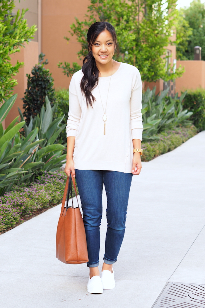 Jeans + White Sweater + slip on sneakers + pendant necklace