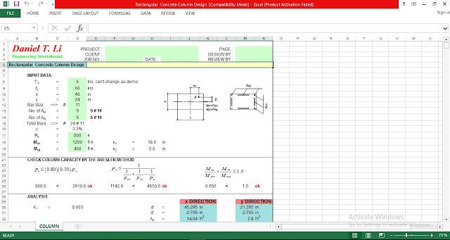 Rectangular Concrete Column Design Spreadsheet-Free download