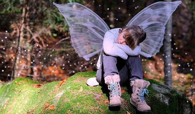 Child Dressed Up Like a Fairy, Waiting