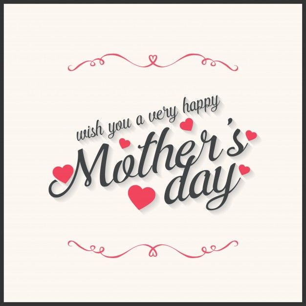 Mothers day card with ornaments and text Free Vector