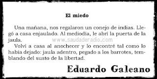 """""""Una mañana, nos regalaron un conejo de indias. Llegó a casa enjaulado. Al mediodía, le abrí la puerta de la jaula. Volví a casa al anochecer y lo encontré tal como lo había dejado: jaula adentro, pegado a los barrotes, temblando del susto de la libertad."""" Eduardo Galeano - El miedo"""
