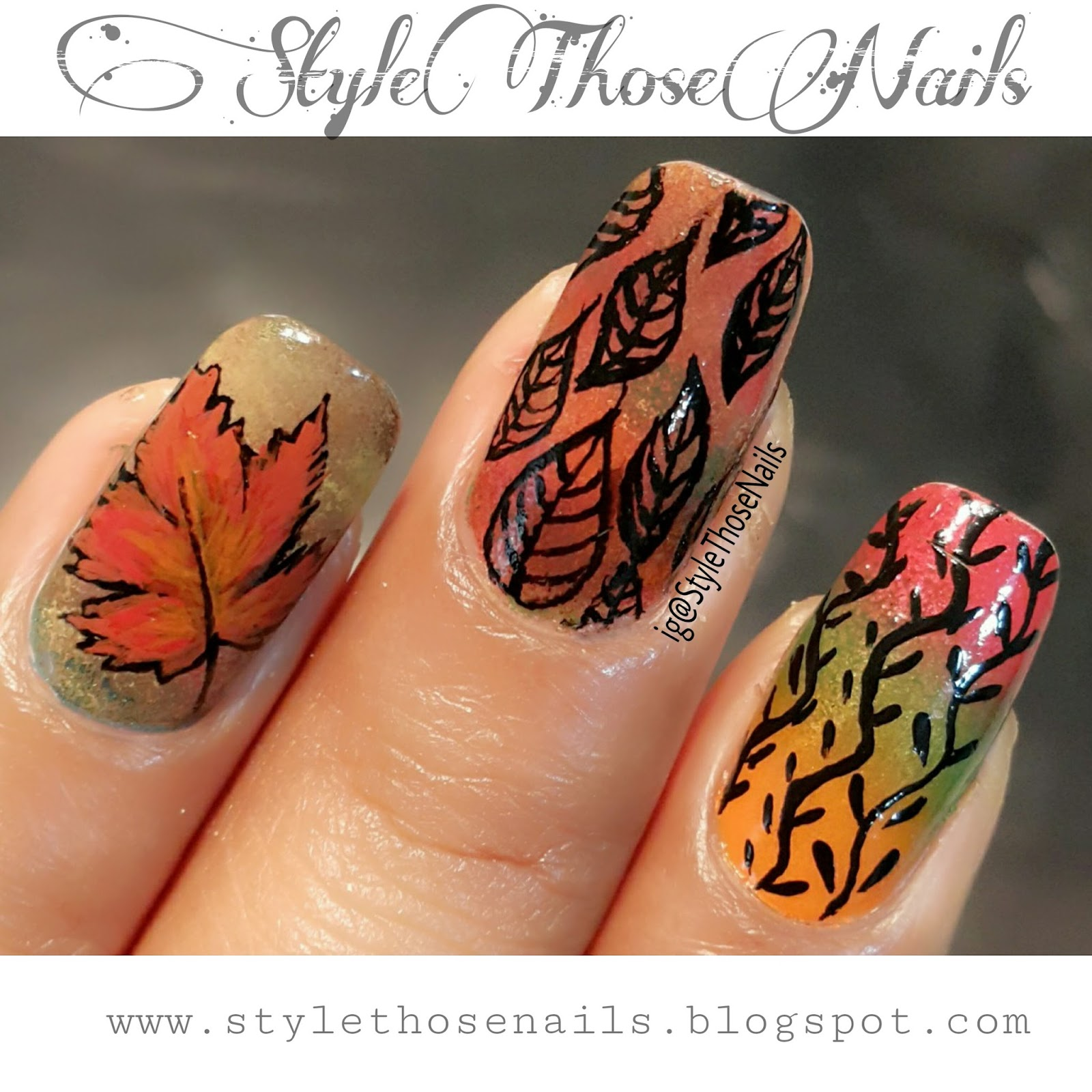 Style Those Nails: Fall/Autumn Nails- 3 in 1 Nail Art ...