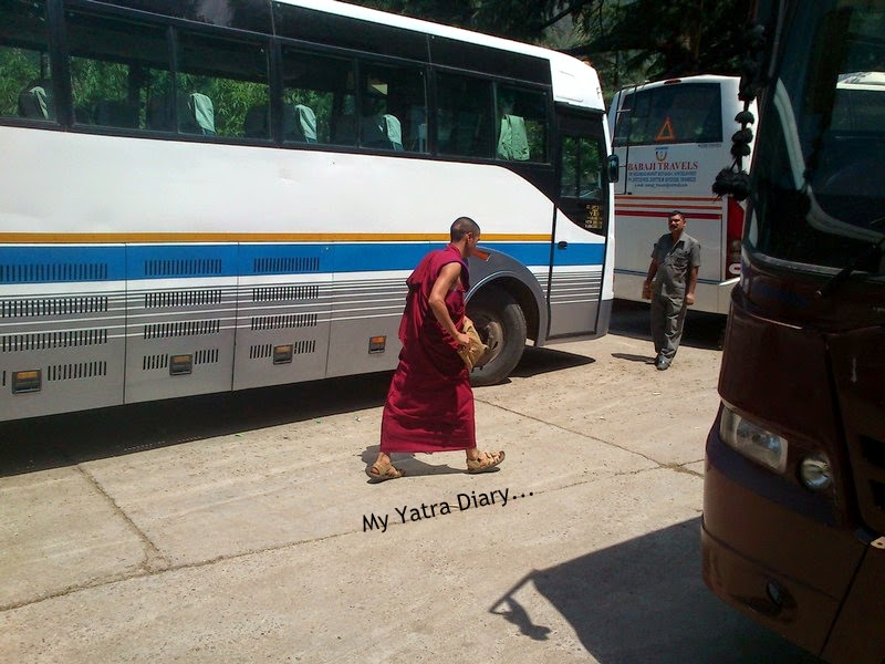 Tibetan monk in a bus at Pathankot - Himachal Pradesh