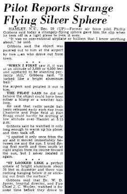 Pilot Reports Strange Flying Silver Sphere - The Honolulu Advertiser 12-30-1949