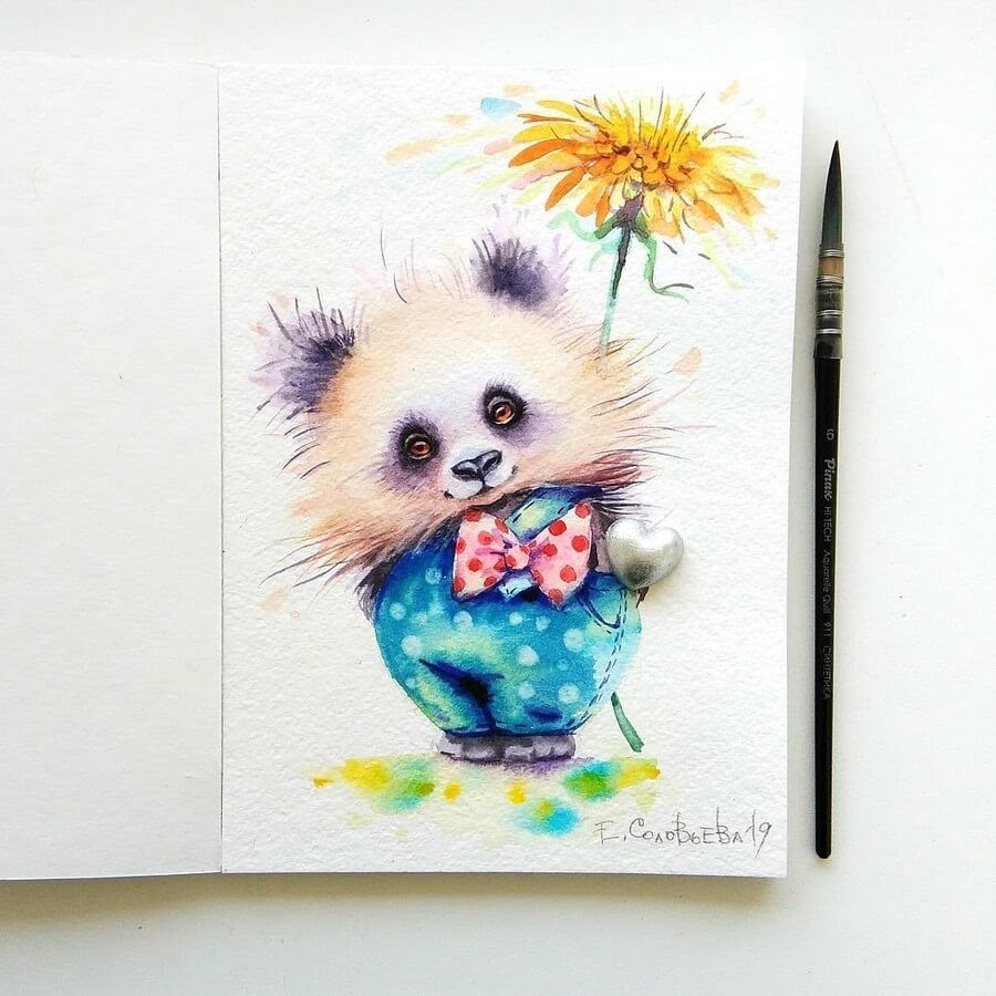 12-Panda-With-a-Bow-Tie-Evgeniya-Solovyova-Fantasy-Animals-Watercolor-Paintings-www-designstack-co