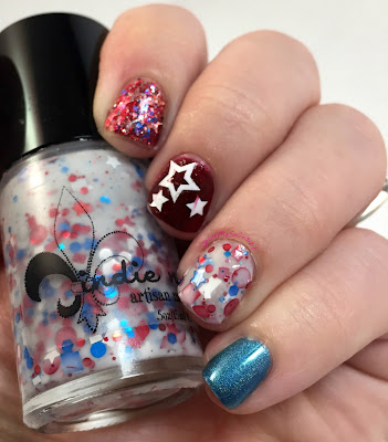 blue eyed girl lacquer, jindie nails, julep, dance legend, 4th of july nails, fireworks, independence day