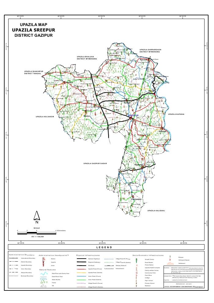 Sreepur Upazila Map Gazipur  District Bangladesh