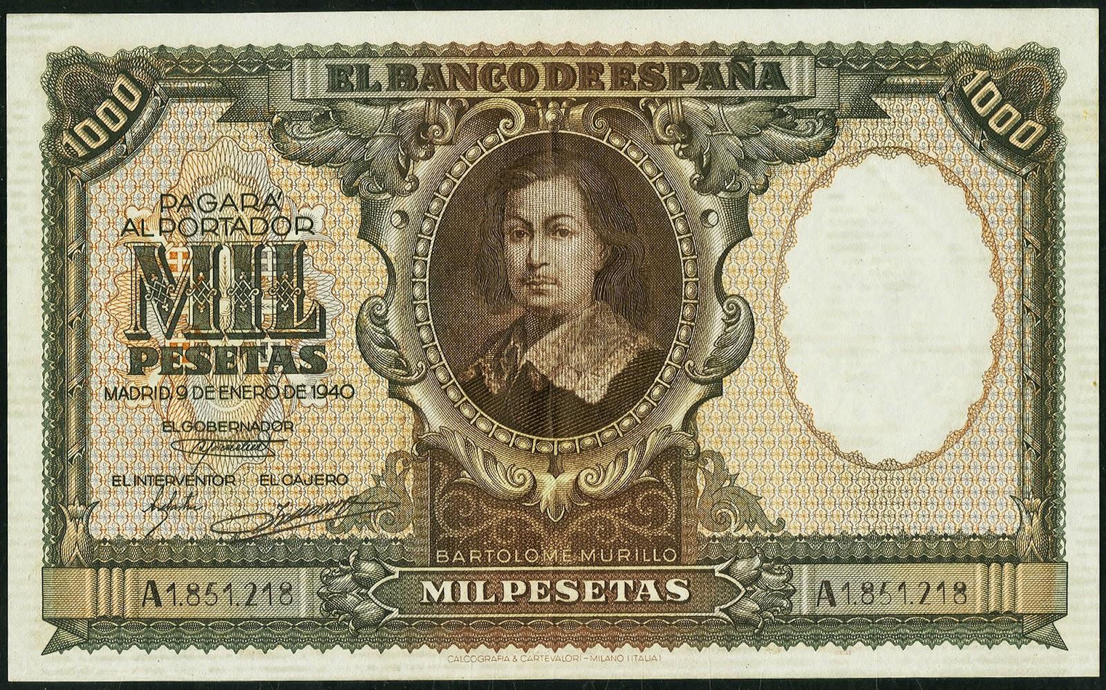 Spain Banknotes 1000 Pesetas banknote 1940 Bartolomé Esteban Murillo