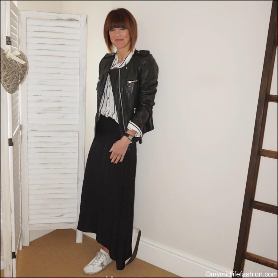 my midlife fashion, Isabel Marant Etoile leather jacket, Isabel Marant Etoile stripe blouse, Cabi Cruise skirt, golden goose superstar low top trainers