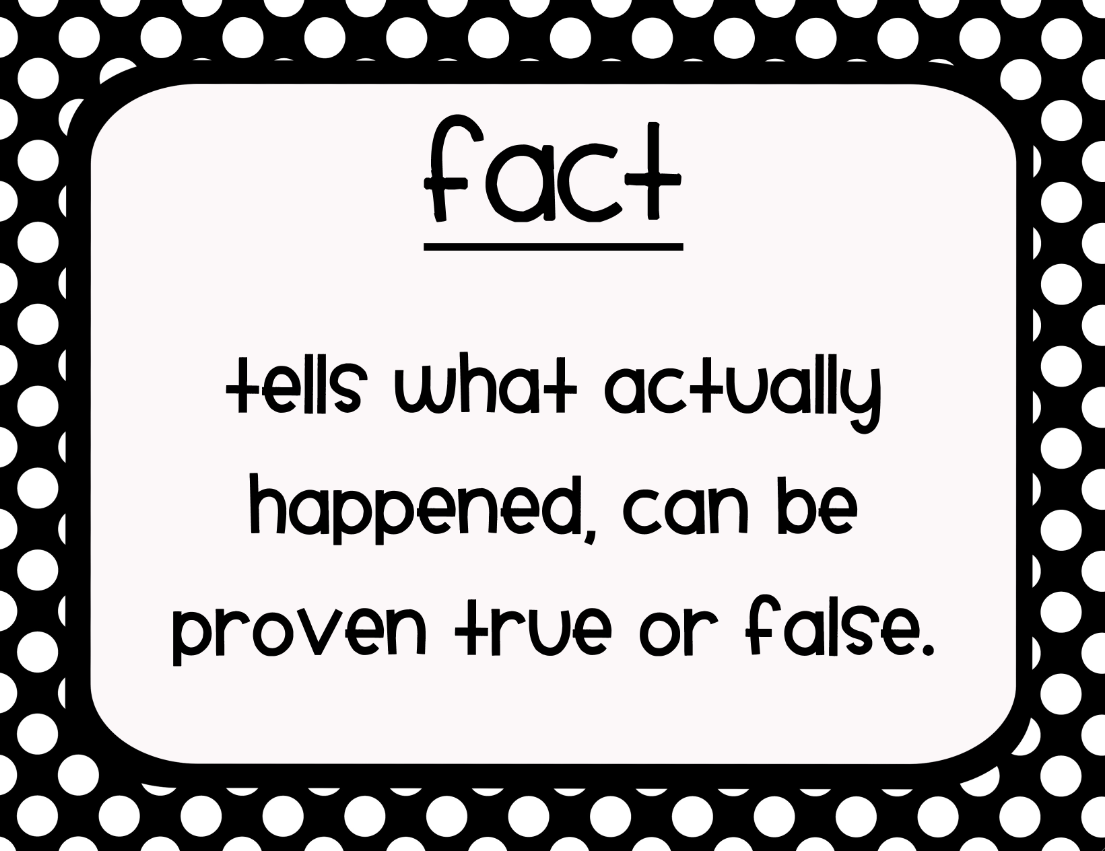 Mrs. Enos' Reading Realizations: Fact vs. Opinion Practice