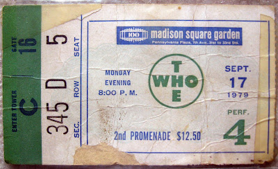 Tommy Mondello's WHO ticket stub 1979 MSG