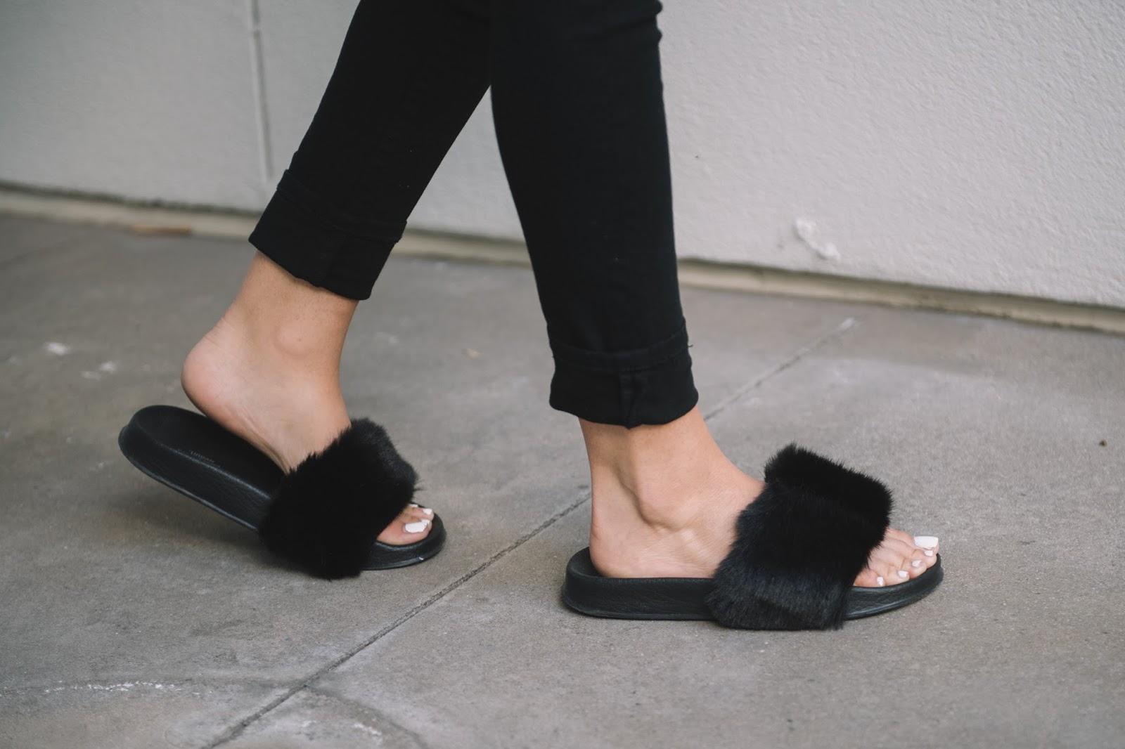 Urban Outfitters Black Fur Slippers - @ taylorwinkelmeyer