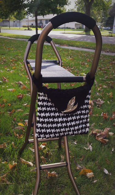 sling seat cane with crocheted bag