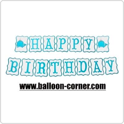 Bunting Banner HAPPY BIRTHDAY Gambar Ikan Paus