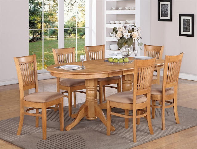 marvelous bright brown oak dining room sets contains of oak table and chairs plus beautiful vase flowers on top