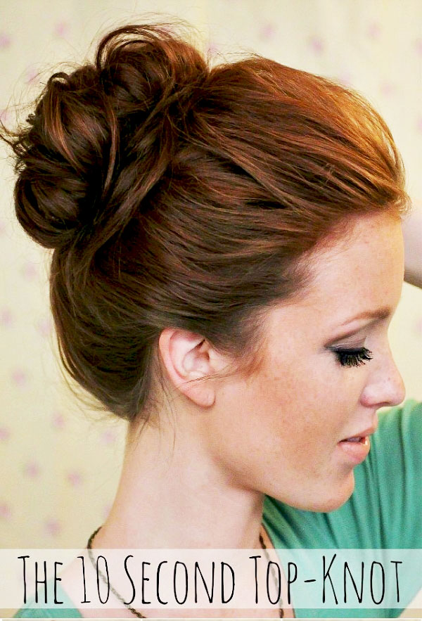 10 Second Top Knot step by step Tutorial