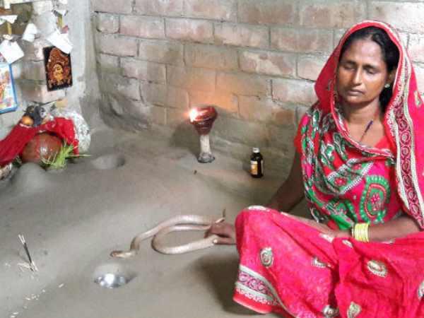 नवरात्र में जहरीले सांप के साथ रहती है यह बिहारी महिला