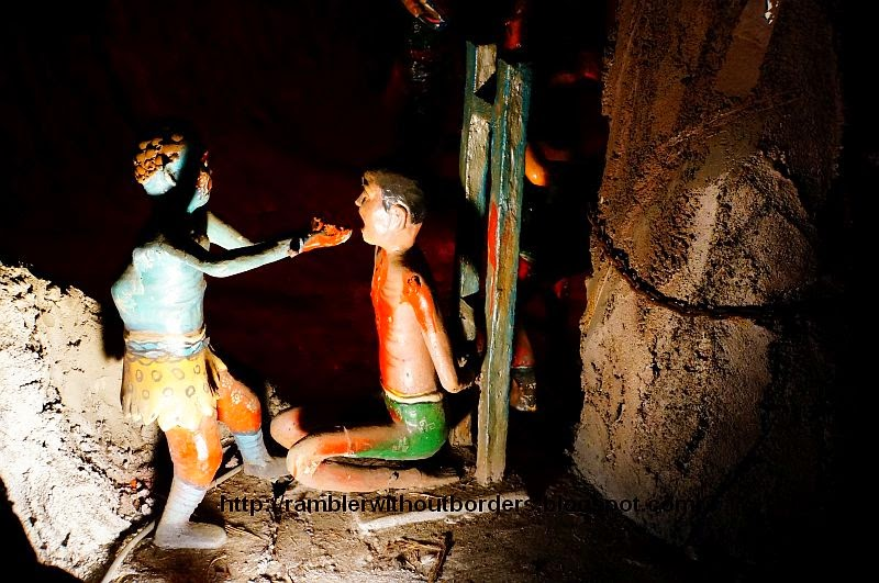 Tongue being pulled out as a punishment in the 7th Court, Haw Par Villa, Singapore
