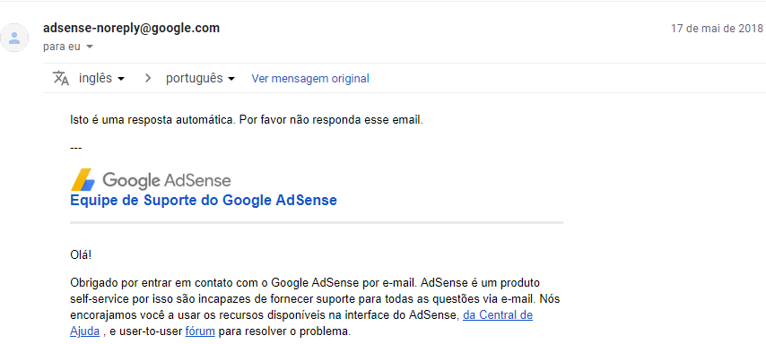 Email resposta automática