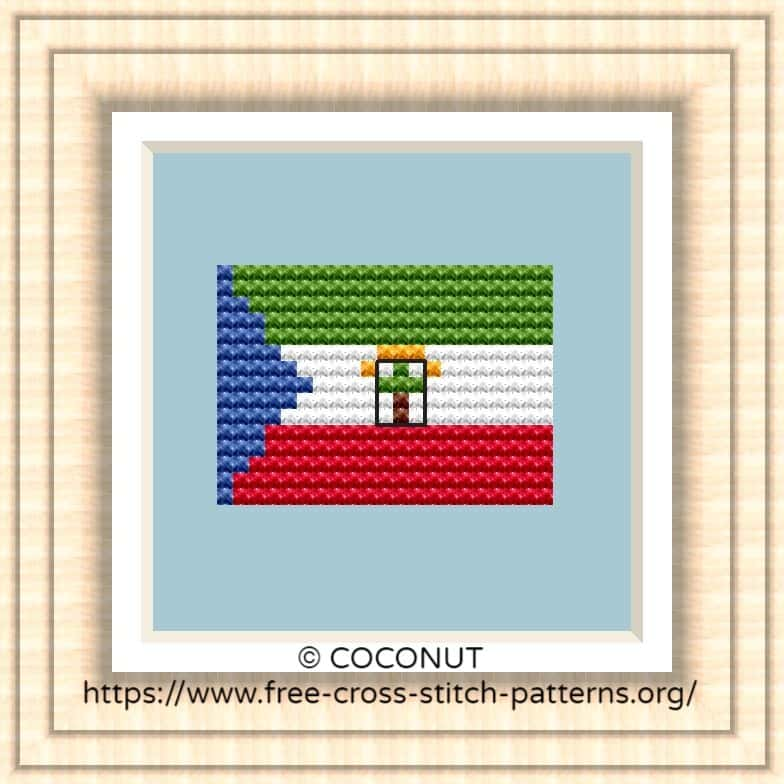 NATIONAL FLAG OF EQUATORIAL GUINEA CROSS STITCH CHART