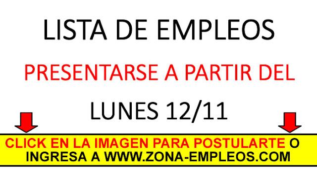 EMPLEOS PARA PRESENTARSE A PARTIR DEL 12/11
