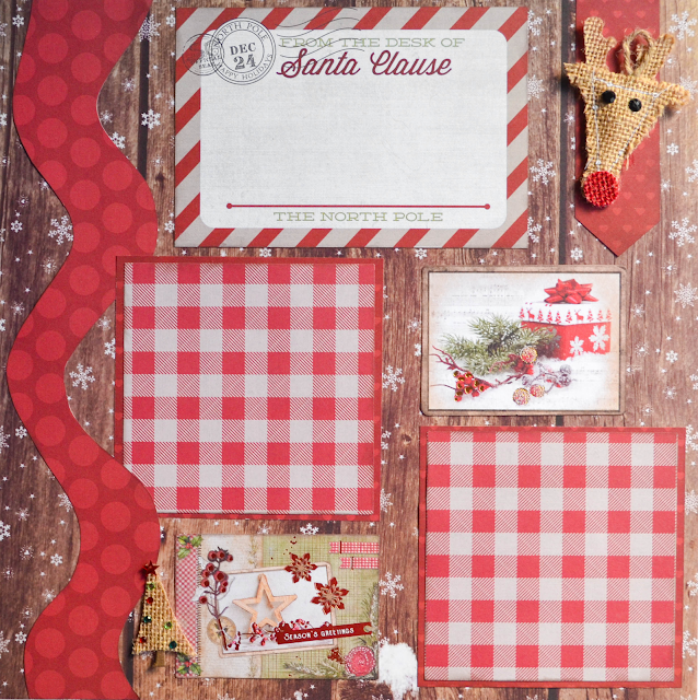 premade Christmas scrapbook page layout - red and brown with reindeer and ginham