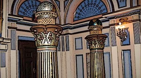 los dos pilares boaz y jaquin dentro de una construcción