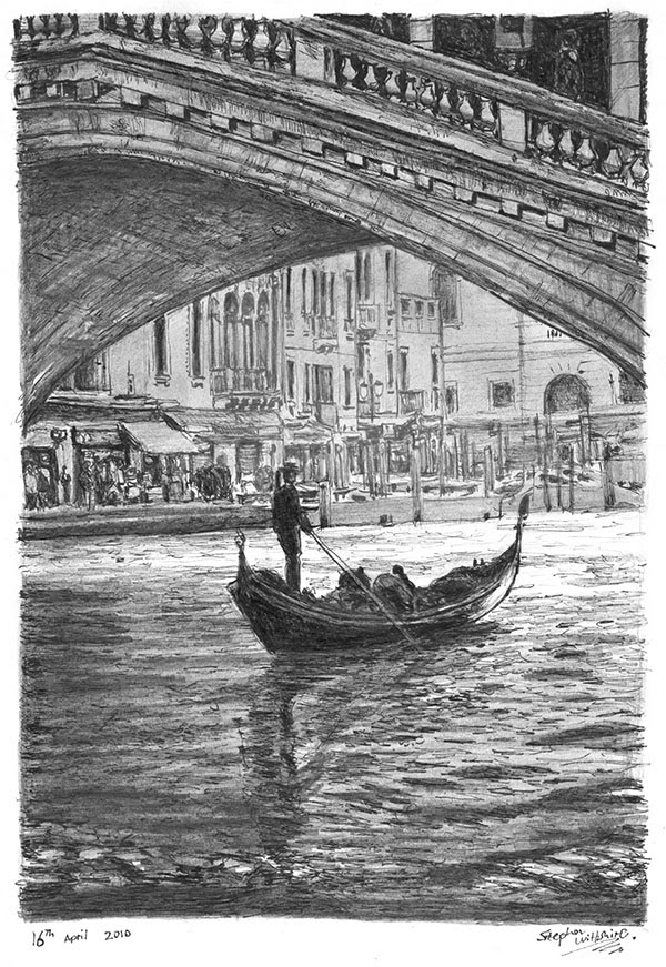 09-Gondola-in-the-Shade-in-Venice-Stephen-Wiltshire-Urban-Drawings-from-Memory-with-Detailed-Cityscapes-www-designstack-co