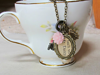 image mr darcy pride and prejudice boho chic charm necklace literature jane austen pastel baby pink vintage skeleton key two cheeky monkeys