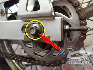 tahan baut (A) dengan kunci 14'