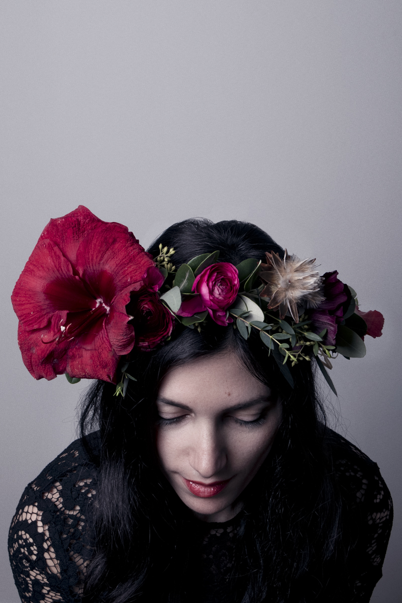 A beautiful holiday floral crown latonya yvette nine attach the flower to the crown wrap and twist off using the thin floral wire and place the foliage to cover the wire now you can have fun designing izmirmasajfo