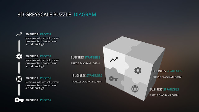 Greyscale 3D Cube and Puzzle