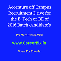 Accenture off Campus Drive or Recruitment for the Fresher candidates for the Associate IT Operations Vacancies BE/ B. Tech across India in 2016