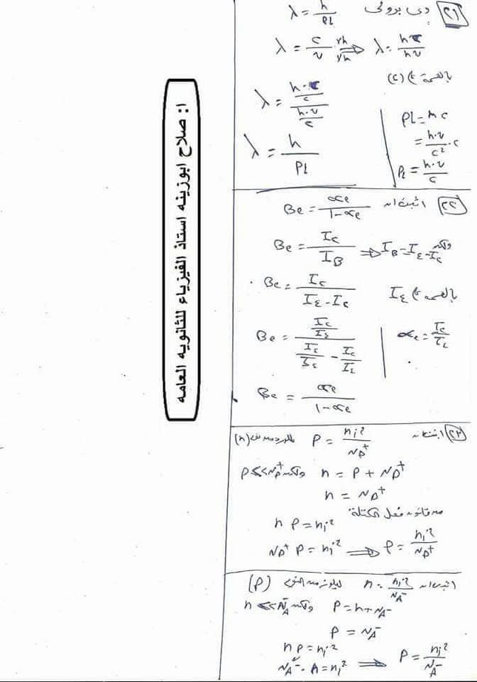 مراجعة اثباتات و قوانين و رسومات منهج الفيزياء للصف الثالث الثانوي 12