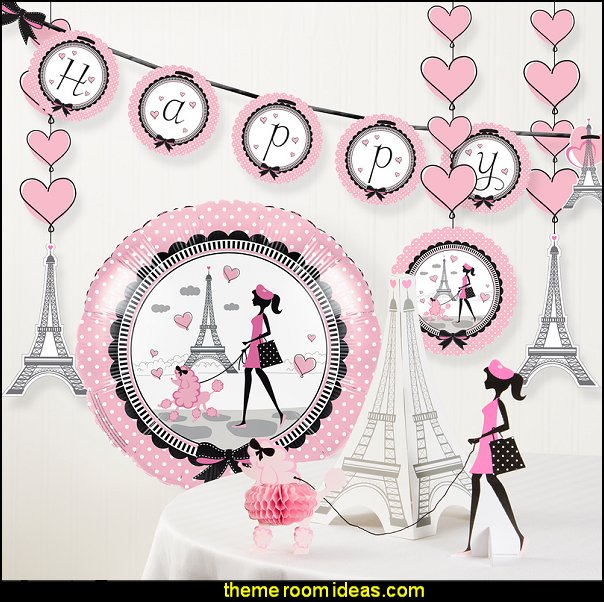 Party in Paris Birthday Party Decorations Kit  Paris party decorations - Paris themed party supplies - Party in Paris Birthday Party Decorations  -  Pink Paris Party -  Paris party balloons - Eiffel Tower Favor Boxes -  French-themed celebration  - Pink Poodle Paris Theme Birthday Party
