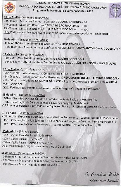 Programação da Semana Santa na Paróquia de Almino Afonso - RN