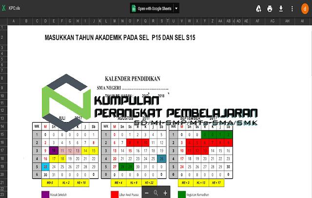 Gratis Aplikasi Kalender Pendidikan Excel Model Keren