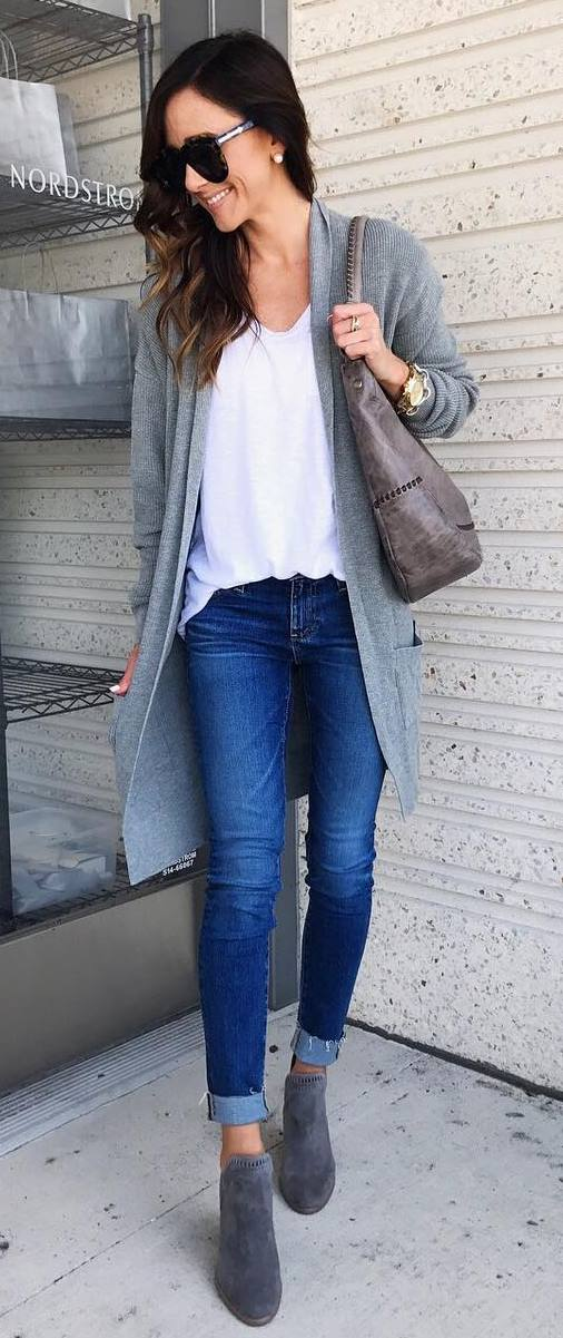 casual style addict / grey cardigan + bag + skinny jeans + boots + white tee
