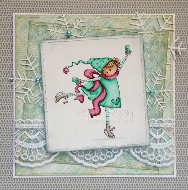 Snowy winter card with tiny skater girl (image from Stamping Bella)