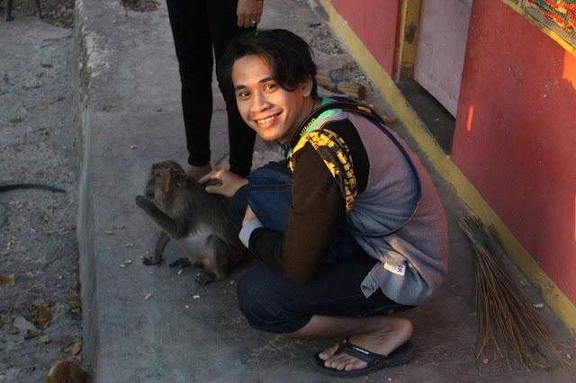 bercengkrama dengan monyet jinak di goa monyet kupang NTT