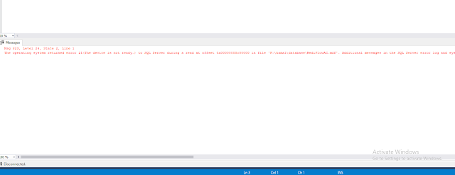 The operating system returned error 21(The device is not ready.) to SQL Server during a read at offset.
