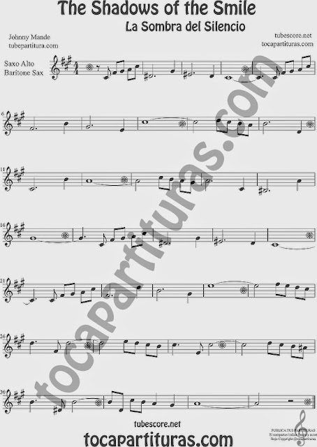 The Shadows of Your Smile  Partitura de Saxofón Alto y Sax Barítono Sheet Music for Alto and Baritone Saxophone Music Scores La Sombra de tu Sonrisa