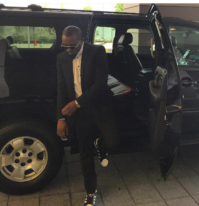 Boss! Rapper Ice Prince is looking dapper as he steps out from SUV