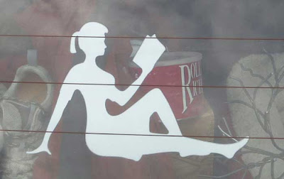 White silhouette figure of a woman, like the ones on sexist men's mudflaps, except she's reading a book