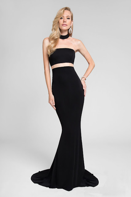 Mermaid Court Train High Neck Zipper Back Jersey Prom Dress with Illusion Waist