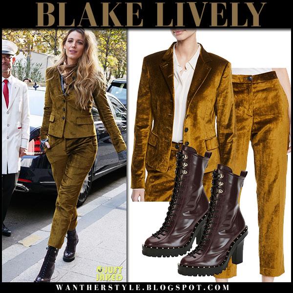 Blake Lively in khaki green velvet blazer and pants paris fall fashion september 20
