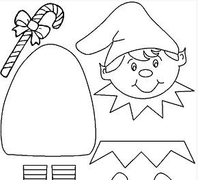 Plantilla Elfo muñeco recortable para niños