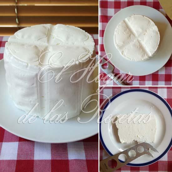 Queso fresco casero hecho con leche pasteurizada de supercado