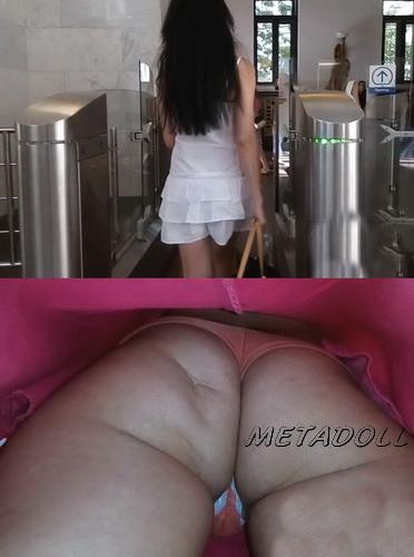 Upskirts 3286-3309 (Public upskirt voyeur - Sexy upskirt view with sweet girls on an escalator)